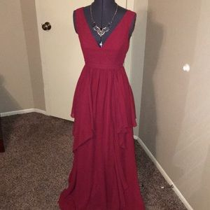 NWT Stunning ModCloth Lace&Mesh Cranberry Gown XS